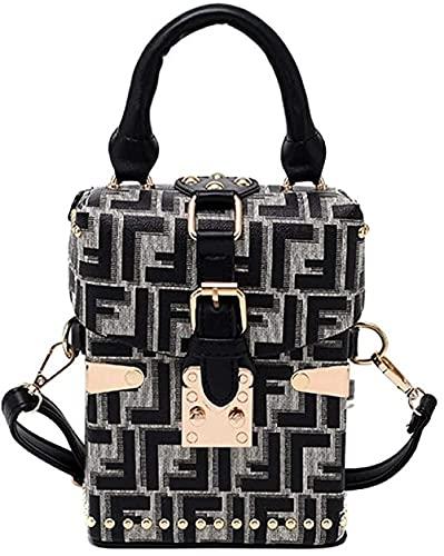 LEOCEE Vintage Stone Pattern Box Style Monederos y bolsos de cuero para mujer Bolso bandolera para mujer Bolso de hombro para mujer Bolso de mano-Gris