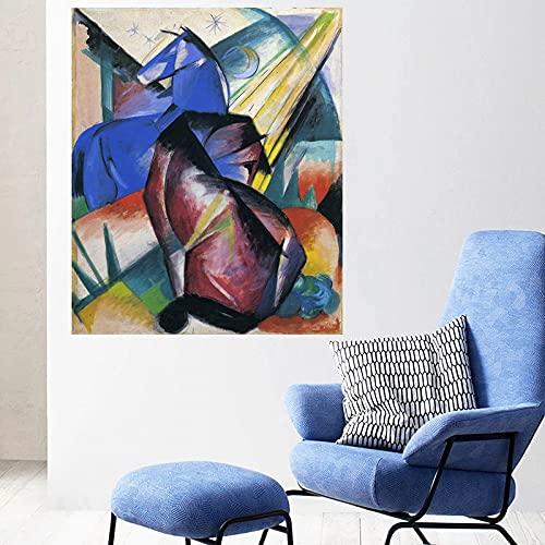 Dos caballos rojo y azul de Franz Marc Pinturas abstractas Lienzo Arte de la pared Decoraciones modernas para el hogar para la decoración del dormitorio 40x48cm 16