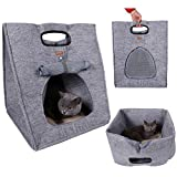 Multifuction Pet Bed Soft Dog House Portable Cat Sleeping Bag Carrier for Outdoor Travel (Gray)