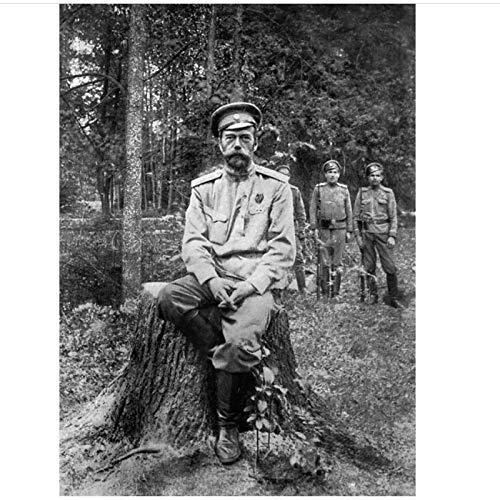 WTHKL Boda del zar Nikolai II Alexandrovich Romanov Emperador de Rusia retrato pared Arte lienzo decoración del hogar-50x70 Cm sin Marco 1 Uds