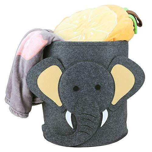 GUBOOM Cesta de Lavandería de Fieltro, Cesta de la Colada de Fieltro Redondo Plegable Cubo de Almacenamiento para Ropa Sucia, Artículos Varios para Bebés, Peluches (Elefante)