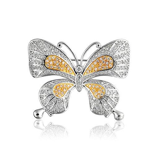Vintage Style Dos Tonos De Amarillo Blanco Allanar Golden CZ Mariposa Zirconio Cúbico Broche Bañado En Oro para Mujer