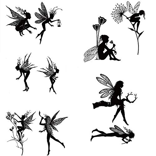 5pcs Stamp Jungle Fairy Girl Forest Cabin Clear Stamps for Card Making Scrapbooking Paper Crafts Handmade Embossing Stencil Photo Album Decor Template DIY Seal