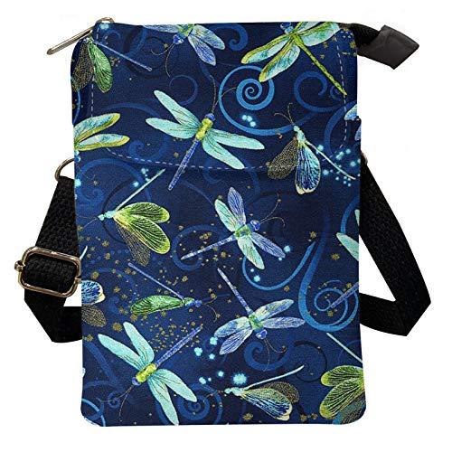 Agroupdream Bolso pequeño de lona con bandolera para mujer, señoras y niñas., color Azul, talla Talla Unica