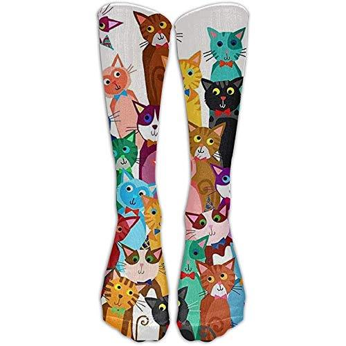 NA Katten dier nylon zachte compressie kniekousen nieuw volleybal mannen & vrouwen cartoon over de knieën lange buis crew sokken