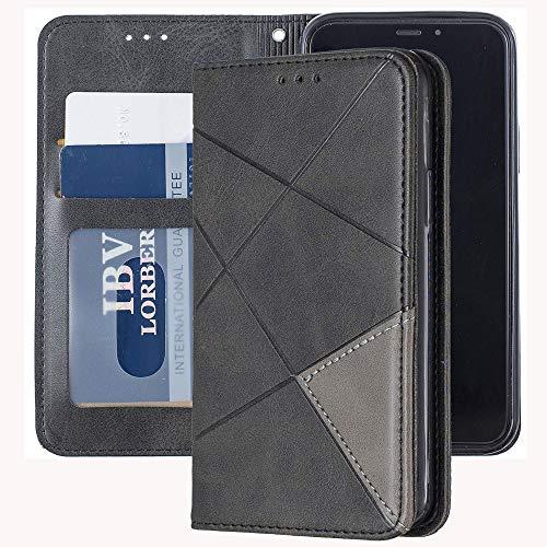 Capa carteira XYX para Samsung Galaxy S10, [recurso de suporte] [compartimentos para cartões] Capa protetora de couro sintético magnético oculto com estampa de losango (preto)