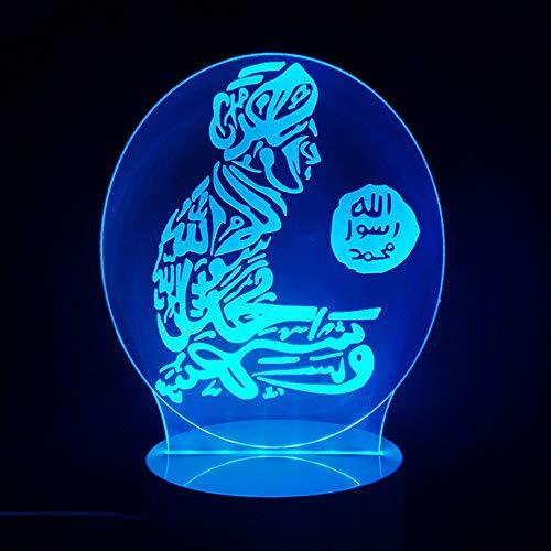 JYHW 3D-led-tafellamp, Gott Allah geeft de Arabische nacht, 7 wisselende lampen, sfeer, slaapkamer, slaapkamer, nachtlampje, kinderen, cadeau
