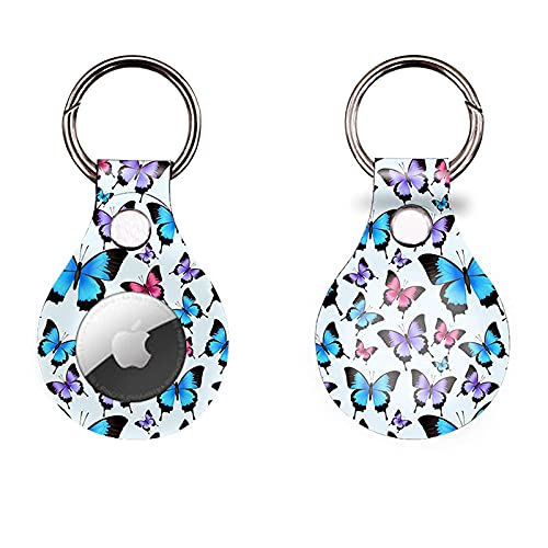 CoKi Anti-Scratch Lightweight Protective Case for Apple Airtag 2021,Colorful Butterfly Portable Cover with Accessory for Airtags Keychain, Pets Anti-Lost Tag Holder (1Pcs, Cute Butterfly)