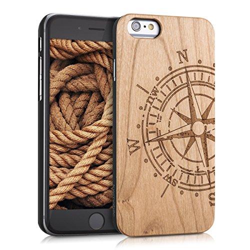 kwmobile Coque Compatible avec Apple iPhone 6 / 6S - Housse de Protection Rigide pour Télephone en Bois Compas Marron Clair