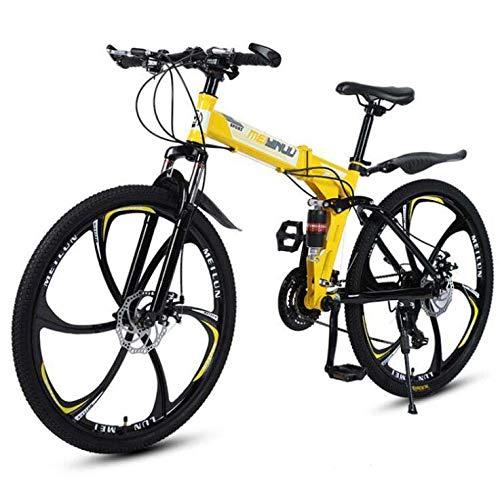 LJLYL Klappbares Mountainbike-Fahrrad für Erwachsene, Rahmen aus hohem Kohlenstoffstahl, Federgabel, Doppelscheibenbremse, PVC-Pedale und Gummigriffe,Gelb,26 inch 21 Speed