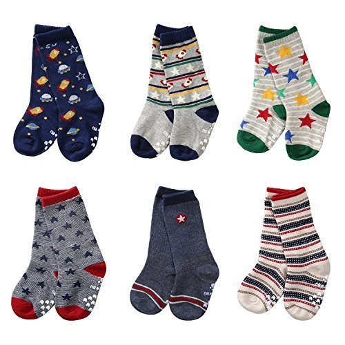 6 Pairs Toddler Non Skid Cotton Socks with Grip Baby Boy Knee High Socks by Flanhiri (1-3 Years, 6 pairs/assorted 2)