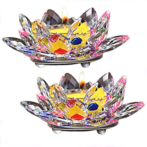 2Pcs Crystal Glass Lotus Candle Holders Tealight Candle...