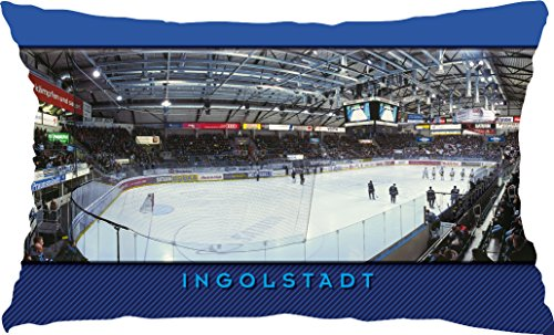 Blue-Letter Eishockey Arena Ingolstadt – Dekokissen Sitzkissen – Stadionkissen als Postkarte (50 cm x 30 cm)