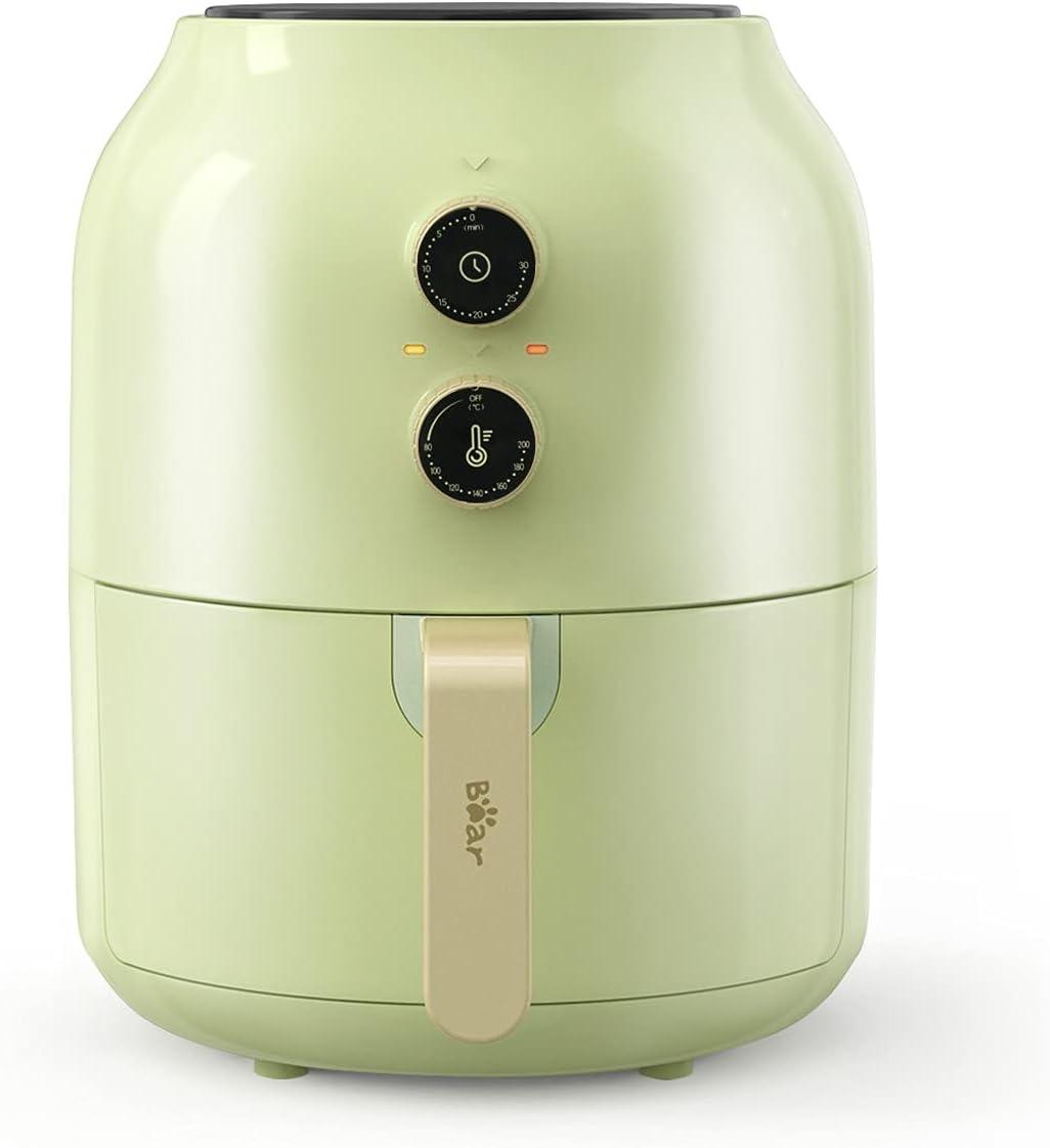 Bear Freidora de aire XL, 3,5 litros Airfryer, freidora sin aceite, tiempo de temperatura ajustable, BPA Free o PFOA, con apagado automático Protección [CE Certificación] (verde claro)
