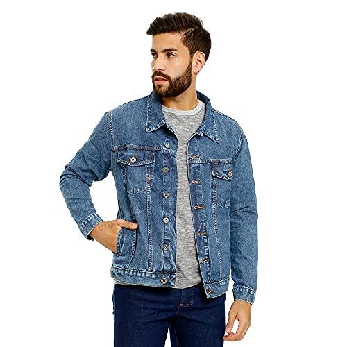 Jaqueta Jeans Masculina Tradicional - Várias Cores Cor:Azul-claro;Tamanho:P