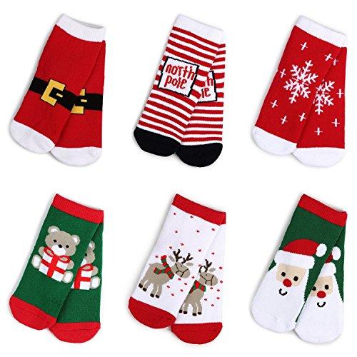 Haley Clothes Kids Christmas Socks Boys Girls Toddler Baby Cotton Socks 6 Pairs