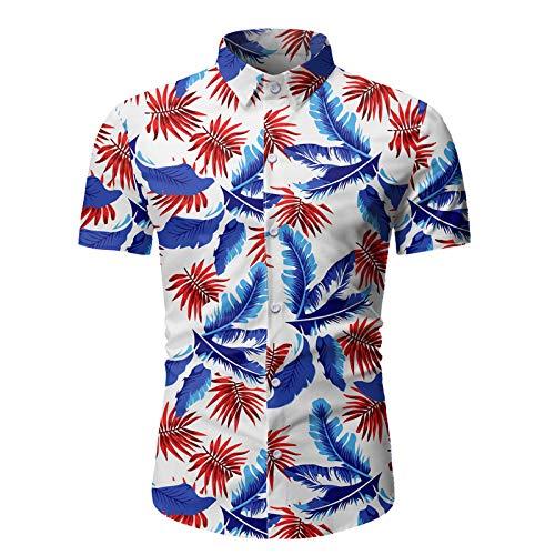 Camisa de Manga Corta con Botones Ajustados y Casuales de Moda para Hombres, Camisas de Playa con Estampado Hawaiano de Primavera y Verano M