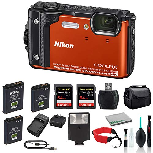 Nikon COOLPIX W300 Rugged Waterproof Underwater Digital Camera (Orange)-Bundle with Mini Portable LED Video Light + 2X 64GB Memory Card + More