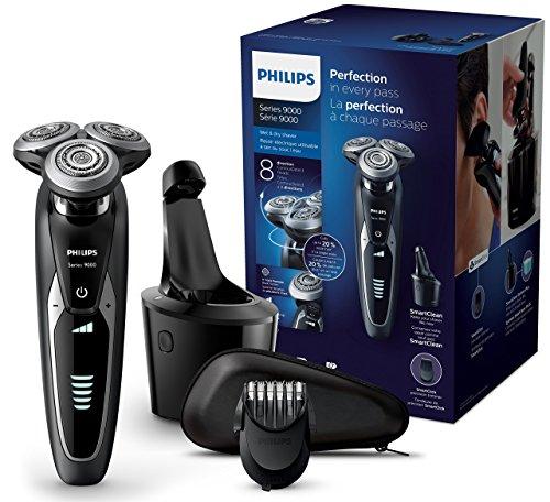 Philips Rasoi Elettrici Serie 9000, Rasoio Elettrico Wet & Dry con Lame di Precisione V-Track e Tecnologia Contour Detect S9531/31