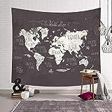 KHKJ Mapa del Mundo habitación Manta Colgante de Pared Tapiz Tienda de campaña colchón de Viaje Toalla de Playa Manta Arte decoración del hogar A2 200x150cm