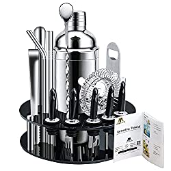 top 10 professional bartending set X-cosrack bar set, 18 piece stainless steel for cocktail shaker, with rotatable display stand …
