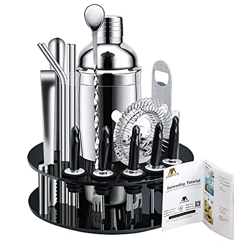 X-cosrack Bar Set,18-Piece Stainless Steel Cocktail Shaker Bar Tools,with Rotating Display Stand and Recipes Booklet,Premium Bartending Kit for Home,Bars,Traveling and Outdoor Parties