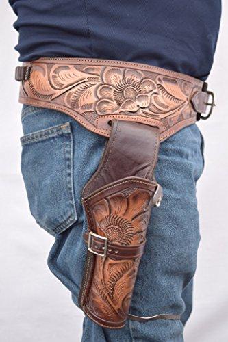Leathertown USA Gun Holster & Belt Cowboy Western Style Rig .44/.45 Cal Single Drop Holster Standard Short Barrel Two Tone Brown Size 44