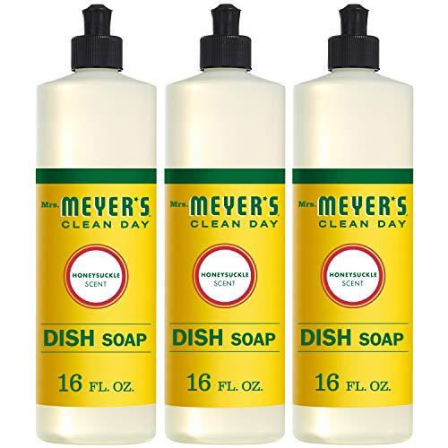 Mrs. Meyer's Clean Day Dishwashing Liquid Dish Soap, Cruelty Free Formula, Honeysuckle Scent, 16 oz - Pack of 3