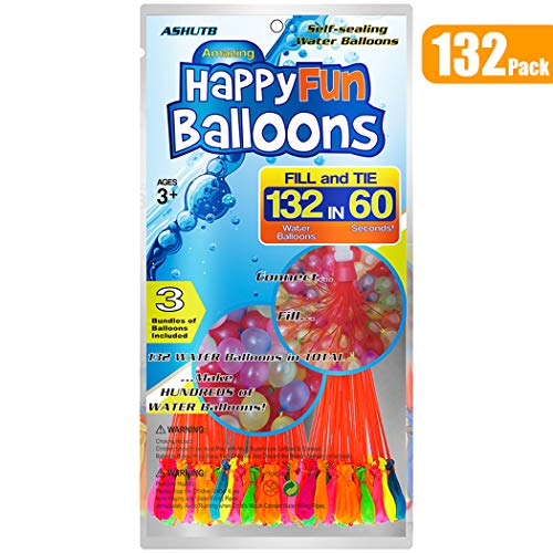 132 Pack Water Balloons Self Sealing Easy & Fast Filling Bunch Balloons Water Bombs Summer Splash Fun Water Fight Game for Adults & Kids (1 Bag of 132 Pack)