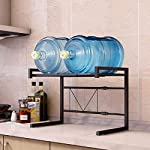 Metal-Microwave-Oven-Rack-Toaster-Stand-Shelf-Expandable-Kitchen-Supplies-Tableware-Storage-Counter-Space-Saver-Cabinet-Organizer-Spice-Holder-with-3-Hooks-60lbs-Weight-Capacity-Black-Stainless-Steel