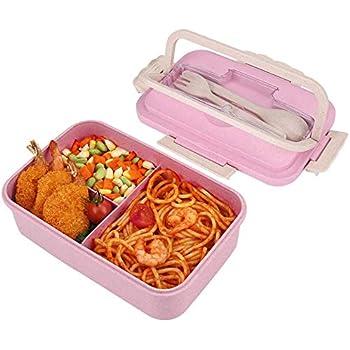 HALOVIE Fiambreras Bento Caja Almuerzo 1L con 3 Compartimentos y Cubiertos (Tenedor y Cuchara) Caja de Alimentos para Almuerzo y Bocadillos para Niños Infantil Adultos Apta Microondas y Lavavajillas: Amazon.es: Hogar