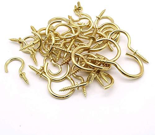 120 Schraubenhaken, 7 Größen Von Schraubenhaken, Metallhaken für Tassen, Haken mit Spitzen Enden zum Aufhängen Von Schlüsselringen, Können Direkt in Holz, Gold Geschraubt Werden