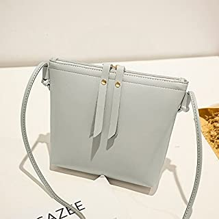 2018 New Women's Shoulder Bag Fashion Double Pull Mobile Phone Bag Simple Wild Single Shoulder Diagonal Bag (Color : Gray, Size : M)