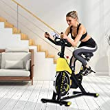 Upright Exercise Bike Cycling Home Spinning Bikes Indoor Stationary, Adjustable Handlebars & Seat & Resistance, 6-Function Monitor, Studio Cycles Aerobic Training, Flywheel, Spin Bike for Heavy People