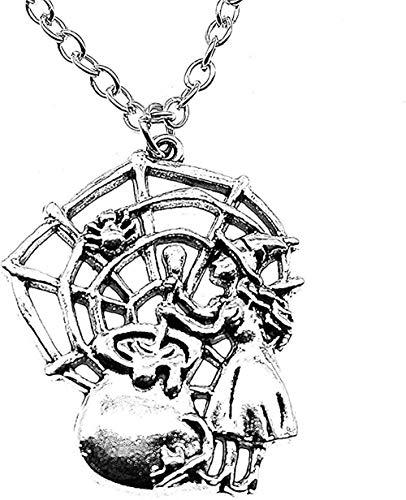 Yaoliangliang Collar Vintage 40X33Mm Bronce Antiguo Plata Antigua Color venenoso Araña Telaraña Bruja Colgante Collar