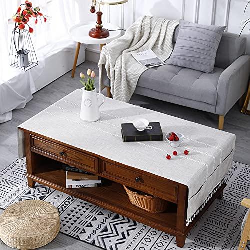 Mantel Rectangular con Borlas Bordadas, A Prueba De Polvo E Impermeable, Mantel Simple Engrosado, Adecuado para Mesa De Café, Hogar, Restaurante