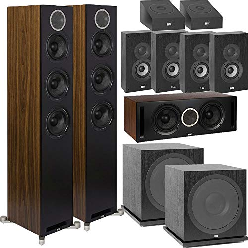 Sale!! ELAC Dolby Atmos Reference DFR52 9.2 Home Theater System with On-Wall Surrounds - Black/Walnu...
