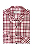 CDM - Herren Karo Langarm Hemd mit Kent Kragen (20417040), Farbe:Rot(100), Kragenweite:41/42