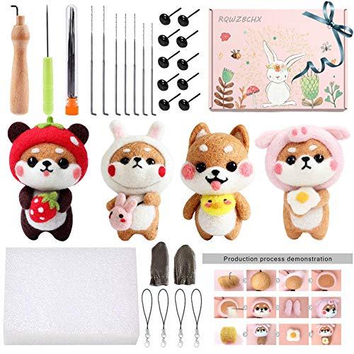 Needle Felting Beginner Kits, 4 Pack Animal Doll Making Felting Set with Manual...