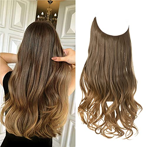 Halo Hair Extensions Ombre Brown to Golden Curly Long Synthetic Hairpiece 18 Inch 4.2 Oz Hidden Wire Headband for Women Heat Resistant Fiber No Clip SARLA(M01&10T27)