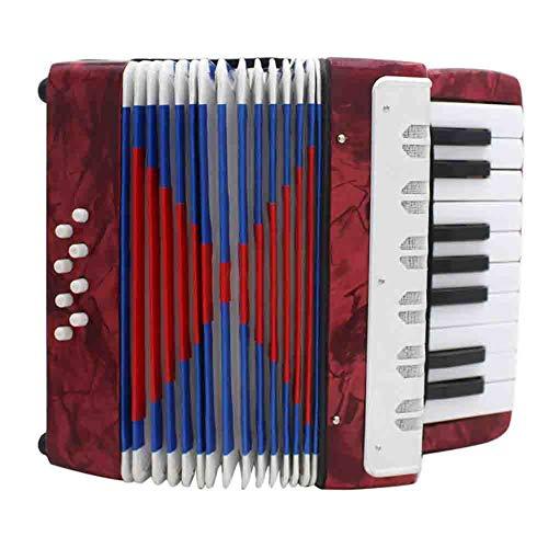 LJRtgf Akkordeon Ziehharmonika Solo Und Tasteninstrument Harmonika Für Anfänger Erwachsene Und Kinder 17 Noten Tasten, 8 Bässe