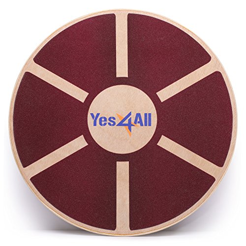 Yes4All Wooden Wobble Balance Board – Exercise Balance Stability Trainer 15.75 inch Diameter (Red Board) (B62R)
