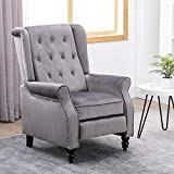 Ansley&HosHo Gray Recliner Accent Chair with Arms Recliner Chair Upholstered Reclining Single Sofa Chair Studded Armchair Tufted Velvet Occasional Leisure Chair for Living Room Bedroom Nailed Trim