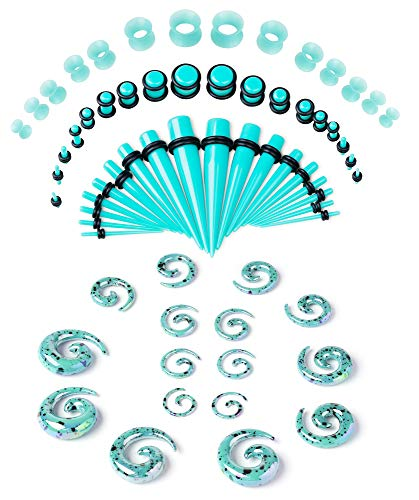 LOYALLOOK Ear Stretching Kit 54PCS Acrylic Tapers and Plugs Spiral Tapers Tunnels 14G-00G Ear Stretching Starter Glow