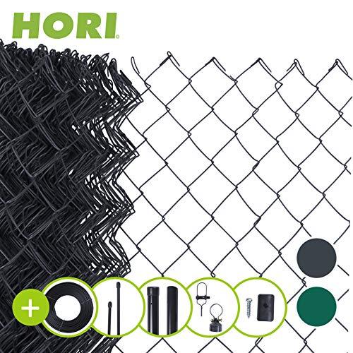 HORI® Maschendrahtzaun I Zaun Komplettset I verschiedene Längen und Höhen I Maße: L x H | 25 x 1,00 m I Anthrazit