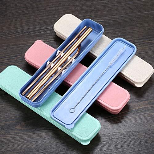 UUMFP Pajitas Reutilizables Juego de 15 pajitas portátiles con Cepillo de Limpieza Pajita de Acero Inoxidable, pajitas de Metal Reutilizables Multicolores 8.5 pulgadaspulgadas