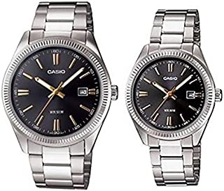 Casio His & Her Black Dial Stainless Steel Band Couple Watch [MTP/LTP-1302D-1A2]