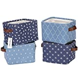 Hinwo 4L Mini Size Nursery Storage Bin Basket Collapsible Square Denim Fabric Storage Box Container Organizer with PU Leather Handles for Shelves & Desks, Set of 4, 7.9 x 6.3 x 5.5 inches