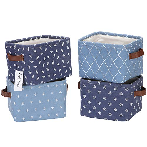 Hinwo 4L Mini Size Nursery Storage Bin Basket Collapsible Square Denim Fabric Storage Box Container Organizer with PU Leather Handles for Shelves & Desks, Set of 4, 7.9 x 6.3 x 5.5 inches, Navy