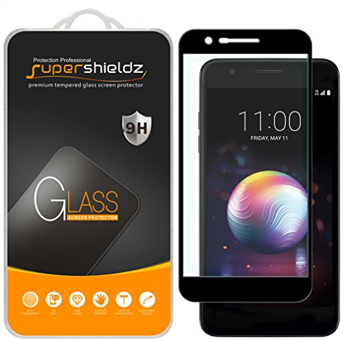 (2 Pack) Supershieldz for LG K30 Tempered Glass Screen Protector, (Full Screen Coverage) Anti Scratch, Bubble Free (Black)
